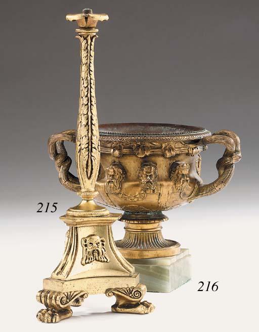 A gilt bronze lamp base, 20th century