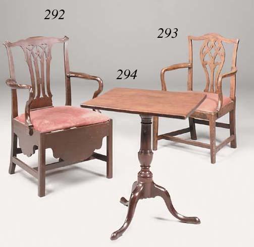 An oak and elm open armchair, 18th century