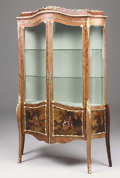 A mahogany ormolu-mounted and vernis martin vitrine, early 20th century