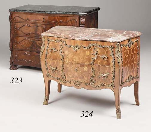A kingwood, tulipwood, marquetry and ormolu mounted bombe commode, 19th century