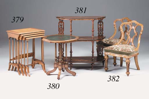 A set of four Victorian oak easy chairs