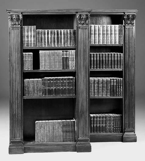 A pair of mahogany open bookcases, 20th century