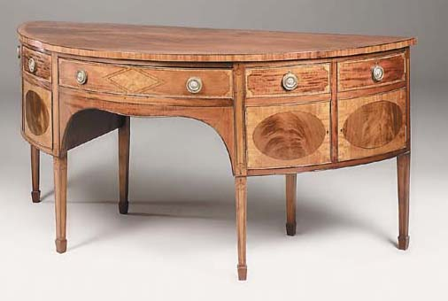 A mahogany crossbanded and inlaid D-shaped sideboard, 20th century