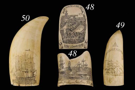 A 19th Century scrimshaw decor