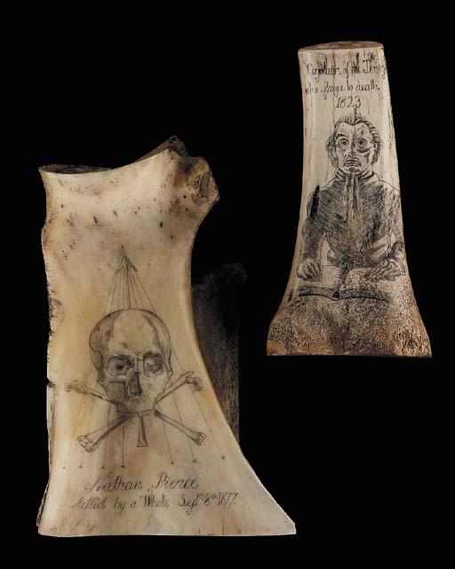 Scrimshaw decorated bone