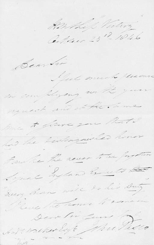 A manuscript letter by Rear-Ad