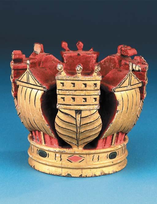 H.M.S. Warspite: A carved gilt