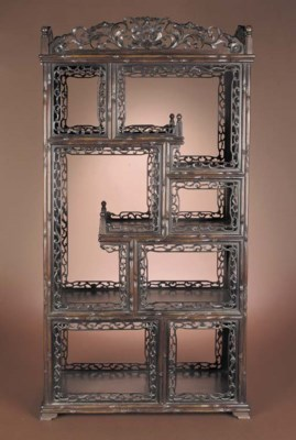 A hardwood rectangular display