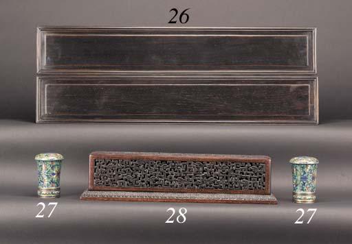 A Zitan wood rectangular box a