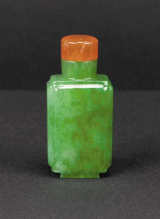 An emerald and apple-green jad