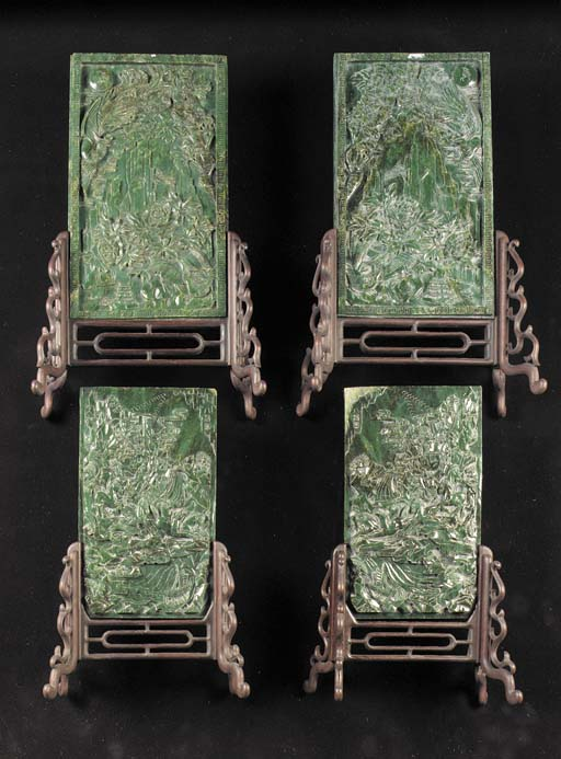 A pair of spinach jade panels