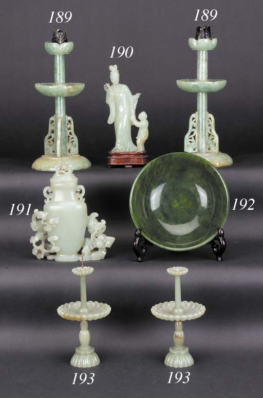 A pair of pale celadon jade pr