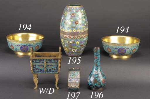 A pair of gilded cloisonne foo