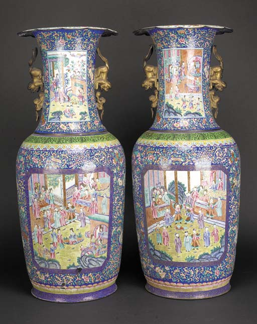 A large pair of Canton enamel