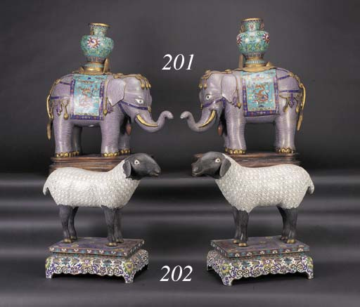 A pair of large cloisonne elep