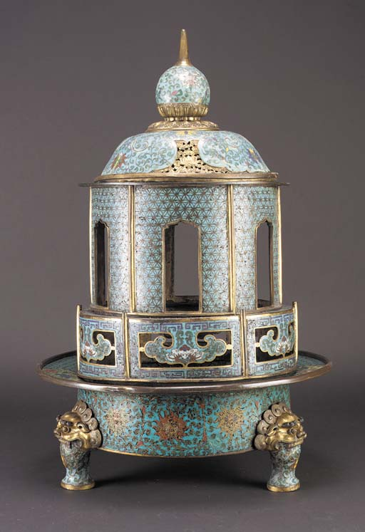 A large cloisonne and gilt inc