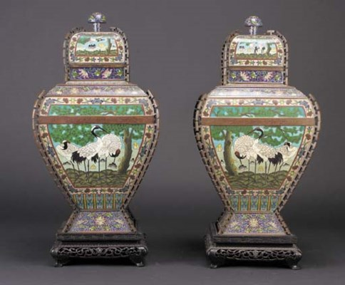 A large pair of cloisonne Hu-s