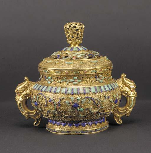 A gilt-copper inlaid censer an