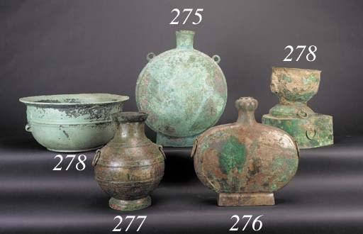 A bronze moonshape hu vase Han