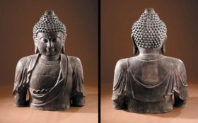A massive dated Ming bronze Buddha torso  dated to the first