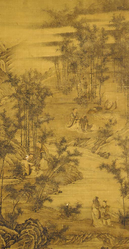 A hanging scroll, in ink and c