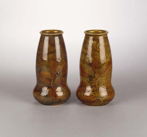 A pair of Royal Doulton Natural Foliage vases