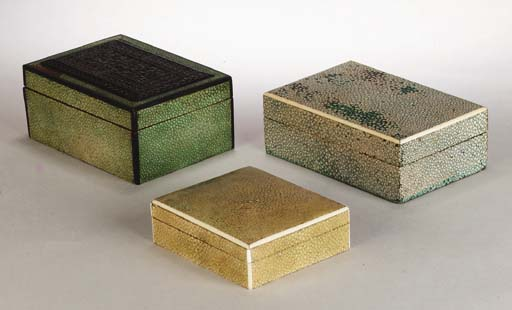 Five shagreen covered wooden box and covers