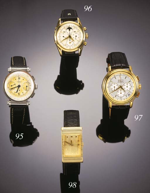 UNIVERSAL, A 14ct. GOLD TRIPLE CALENDAR, MOONPHASE AND CHRONOGRAPH WRISTWATCH Model: Tri-Compax, circa 1960.