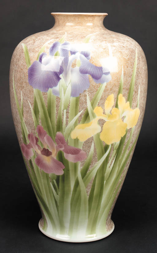 A large Fukugawa baluster vase 19th century