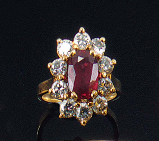 A ruby and diamond cluster rin