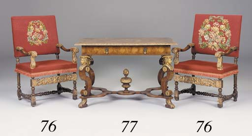 A pair of stained beechwood an