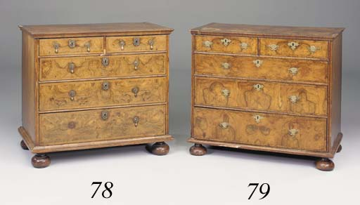 A walnut and feather-banded chest, early 18th century