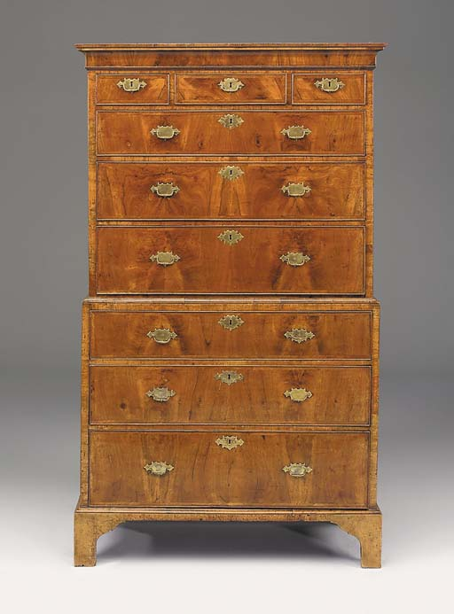 A walnut, crossbanded and feather-banded tallboy chest, elements 18th century and later