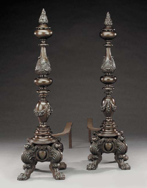 A pair of French cast iron and