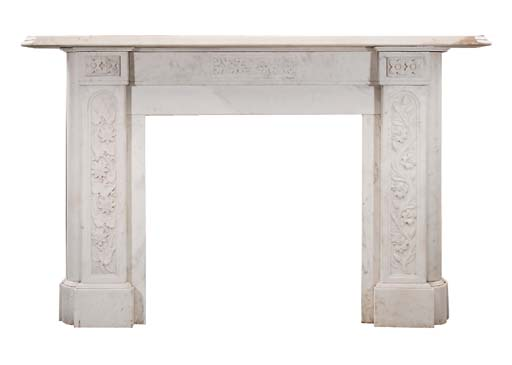A late Victorian sculpted white marble chimneypiece