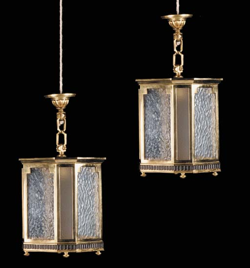 A pair of English gilt brass hall lanterns, first half 20th century