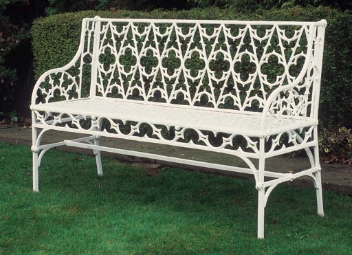 A French white painted cast ir