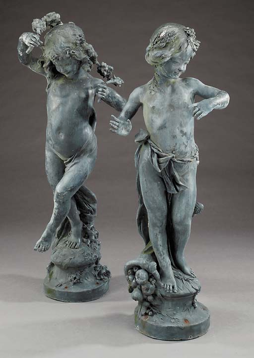 A pair of lead figures of nymp