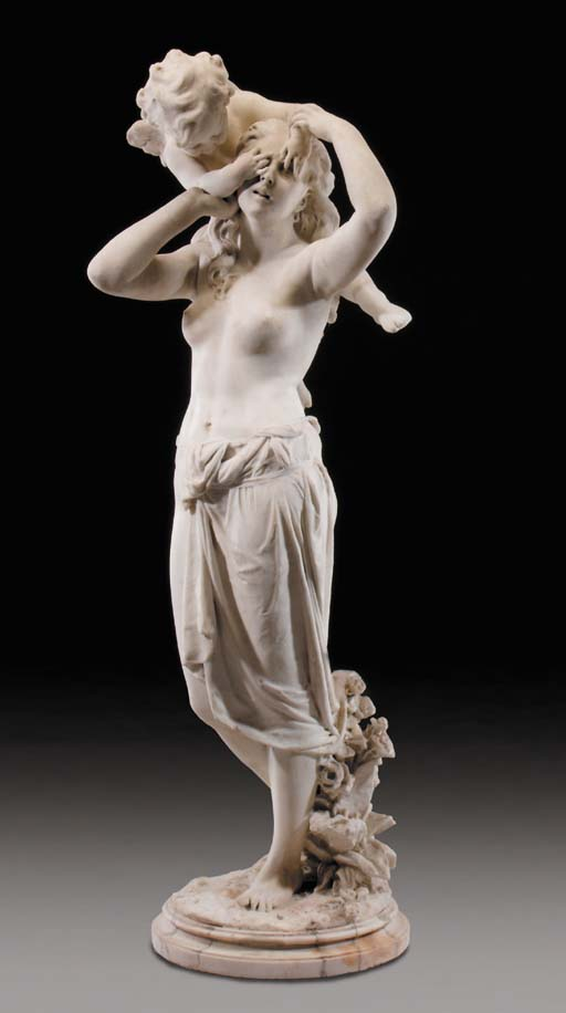 A sculpted white marble group of Venus and Cupid, late 19th century