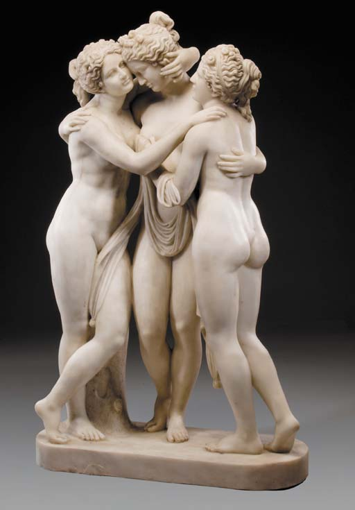 A sculpted white marble group