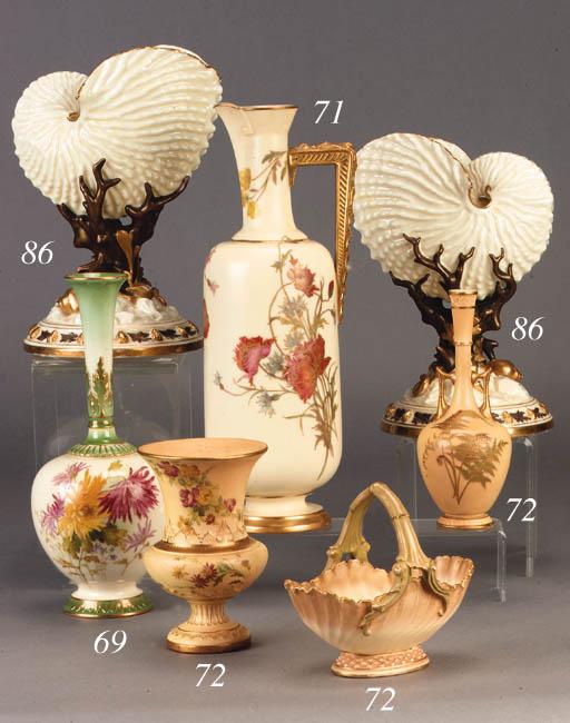 A Royal Worcester blush ivory-