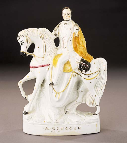 An equestrian figure of Abraham Lincoln