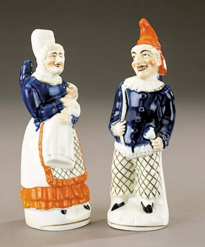 A pair of figures of Punch and