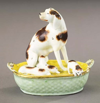A porcelain group of a pointer