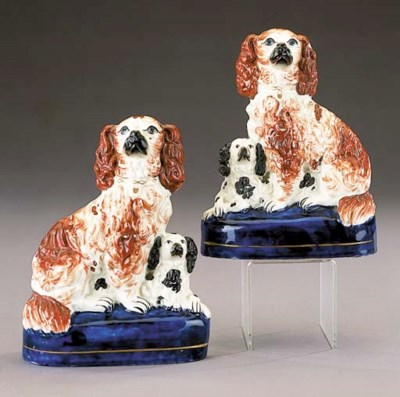 A pair of models of spaniels a