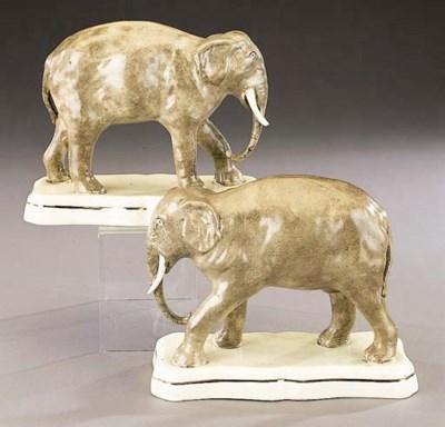 A pair of models of elephants