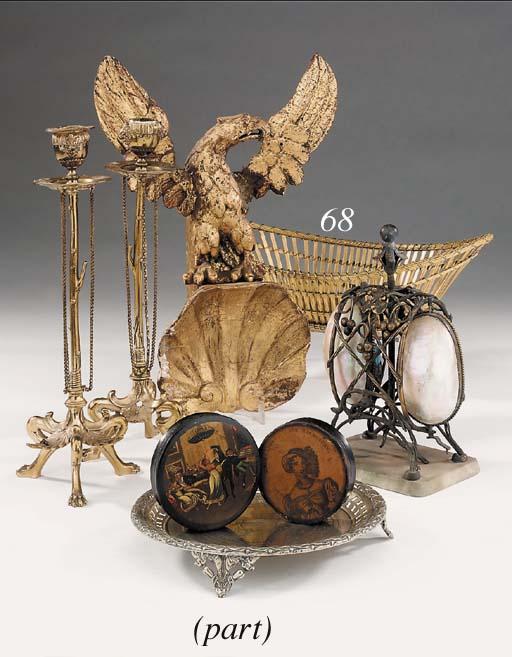 A French gilt metal basket, la
