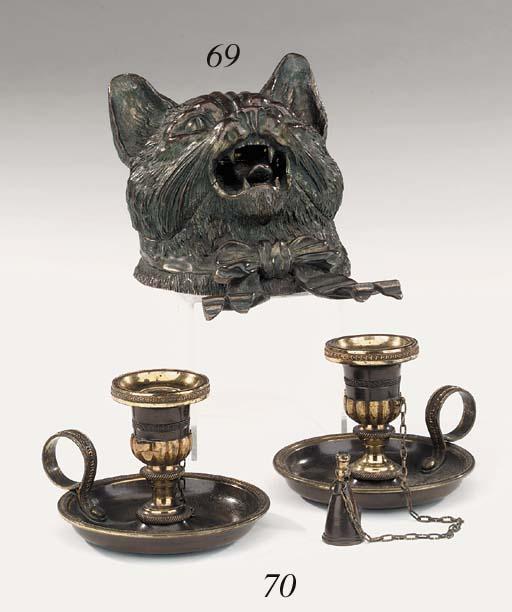A Continental bronze encrier,
