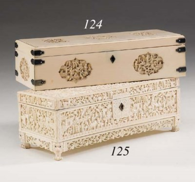 A CANTONESE CARVED IVORY CASKE