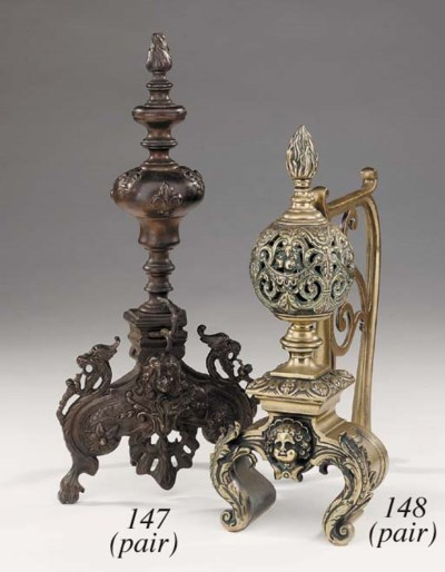 A pair of French brass and cas